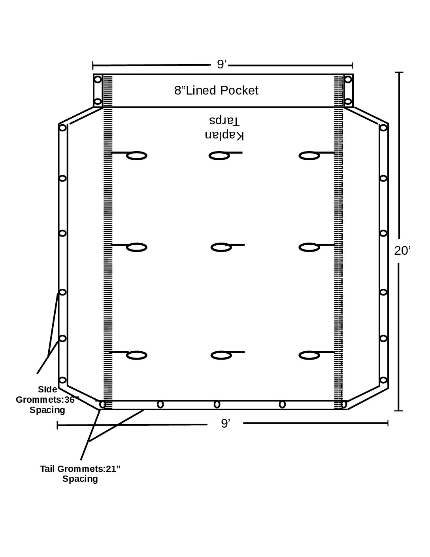 9′ x 20′ ASPHALT RFL EXPANDABLE TARP(14′-18′ Body)