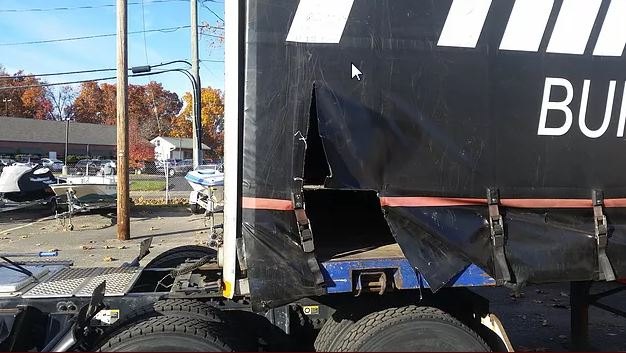 Curtain Side Trailer Repair Before