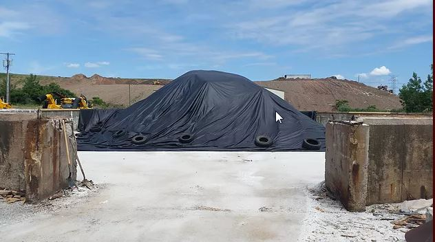 Silt pile cover custom made by Kaplan Tarps & Cargo Controls