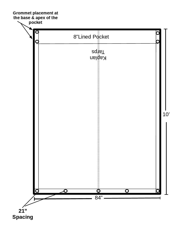 7′ x 10′ ASPHALT (RFL) DUMP TARP (8′ Body)