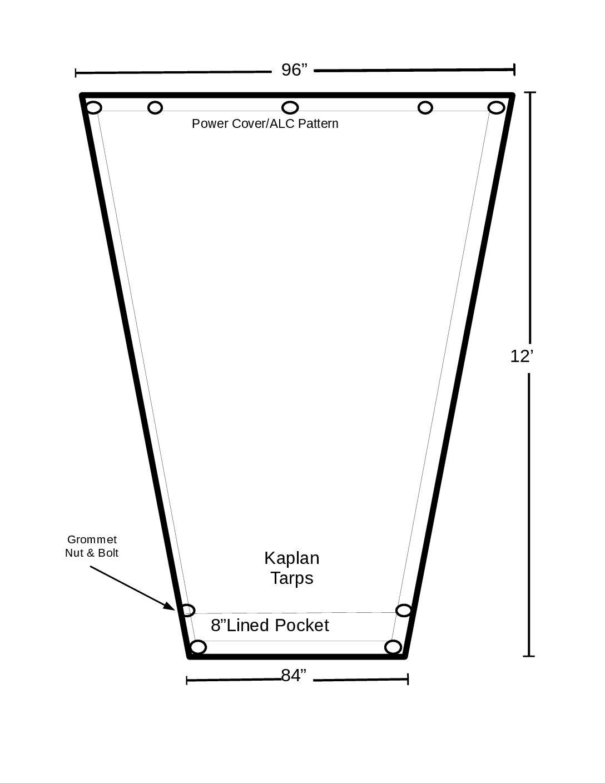 8′ x 12′ ASPHALT (RFL) TAPERED DUMP TARP  *** Made in America ***