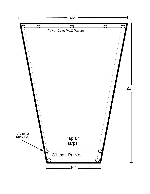 8′ x 22′ ASPHALT (RFL) TAPERED DUMP TARP  *** Made in America ***
